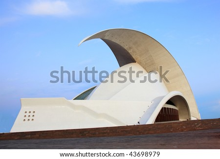 Tenerife national landmark: Auditorio de Tenerife - The Tenerife Opera House which is a symbol for the capitol of Tenerife, Santa Cruz de Tenerife on the Canary Islands. - stock photo