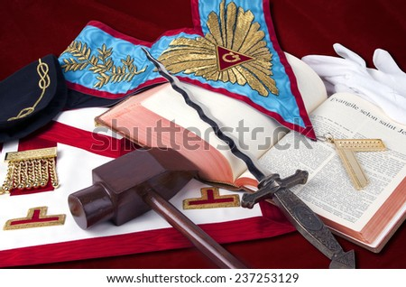 TENERIFE, November 15: Ancient freemasonry symbolic objects of Worshipful Master    ( illustrative editorial).November 15, 2014, Tenerife (Canary Islands) Spain.  - stock photo