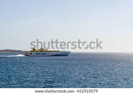 TENERIFE, SPAIN - JANUARY 19, 2016: Fast ferry Fred. Olsen Express connecting Tenerife with other islands of Canary archipelago.