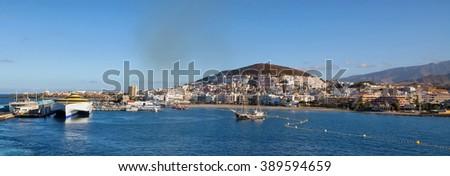 TENERIFE, SPAIN - JULY 15: Panoramic view of the port Colon on july 15, 2014 in Tenerife, Spain. Port Colon - the largest marine entertainment center in Tenerife - stock photo