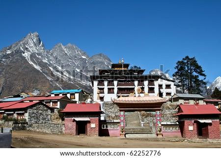 Tengboche - Buddhist Tibetan Monastery in Khumbu, Mont Everest region, Nepal. Sagarmatha National Park. - stock photo