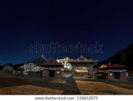 Tengboche Monastery at night in moon light - Everest region, Nepal, Himalayas - stock photo