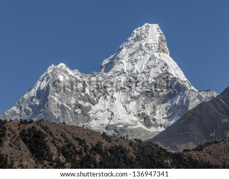 Tengboche monastery on the backdrop of the peak Ama Dablam (6814 m) - Nepal, Himalayas - stock photo