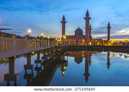 Tengku Ampuan Jemaah Mosque Blue Hour, Bukit Jelutong, Shah Alam Malaysia - stock photo