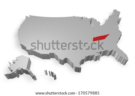 Tennesee state on Map of USA 3d model on white background