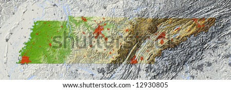 Tennessee. Shaded relief map.  Shows major urban areas and rivers, surrounding territory greyed out. Colored according to relative terrain height. Clipping path for the state area included. - stock photo