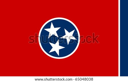 Tennessee state flag of America, isolated on white background. - stock photo