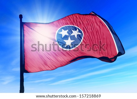 Tennessee (USA) flag waving on the wind - stock photo