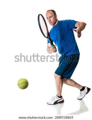 Tennis action shot. Forehand. Studio shot over white. - stock photo
