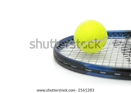 tennis and balls isolated on the white - stock photo