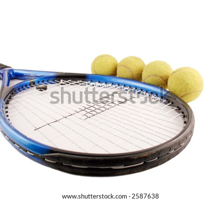 Tennis and balls isolated on the white background - stock photo
