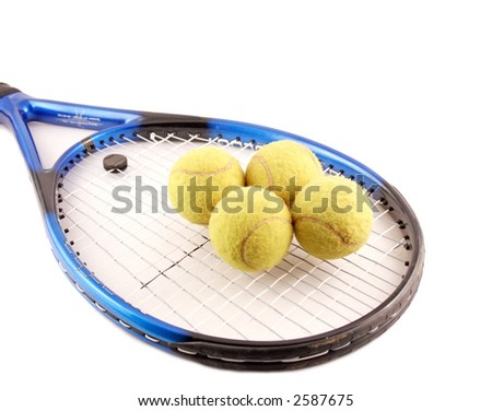 Tennis and balls isolated on the white background