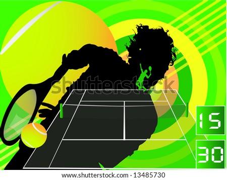 tennis background design - stock photo