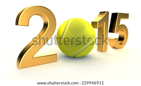 Tennis ball and 2015 year on a White Background - stock photo