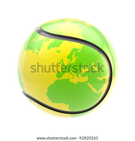 Tennis ball as a glossy plastic Earth planet sphere isolated on white