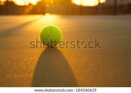 Tennis Ball Backlit by a Warm Sun - stock photo