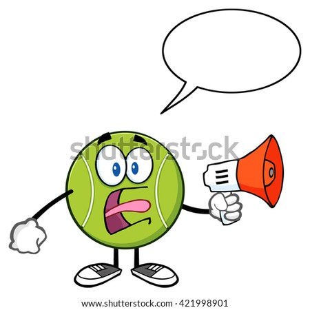 Tennis Ball Cartoon Mascot Character An Announcement Into A Megaphone With Speech Bubble. Raster Illustration Isolated On White - stock photo