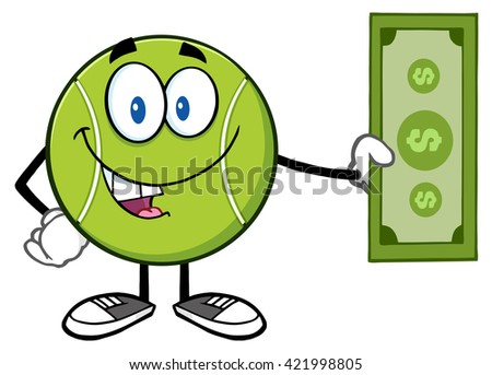 Tennis Ball Cartoon Mascot Character Holding A Dollar Bill. Raster Illustration Isolated On White - stock photo