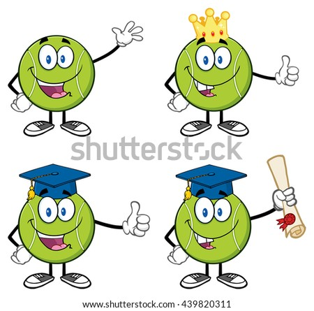 Tennis Ball Cartoon Mascot Character. Raster Illustration Isolated On White Background Collection Set 3