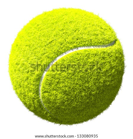 Tennis ball closeup  isolated on white - super high-resolution, highly detailed 3D render great for design clipart or icon creation - stock photo