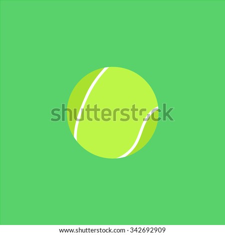 Tennis Ball. Colorful retro flat icon