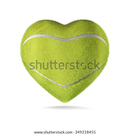 Tennis ball heart / 3D render of heart shaped tennis ball