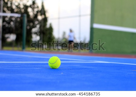 Tennis ball In the evening