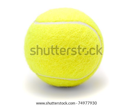 Tennis ball isolated on white  on white background