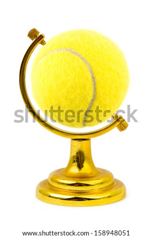 Tennis ball like a globe isolated on white background - stock photo
