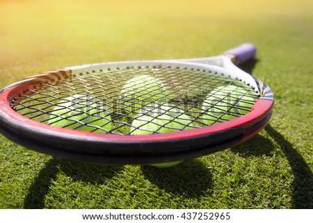 tennis ball on a tennis court - stock photo