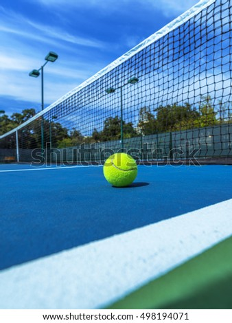 Tennis Ball on Blue Court, Doubles Sideline and Net