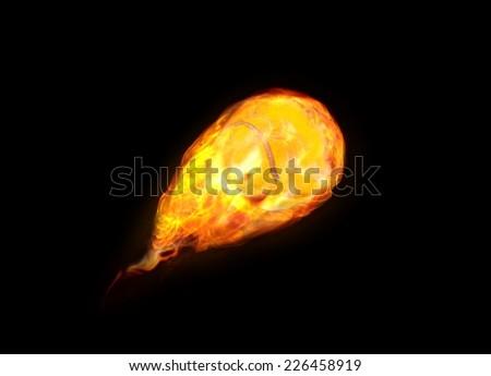 Tennis Ball on Fire - stock photo