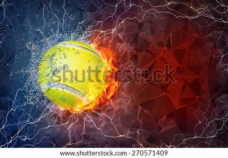 Tennis ball on fire and water with lightening around on abstract polygonal background. Horizontal layout with text space. - stock photo