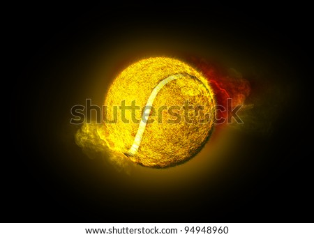 tennis ball on fire, 3d illustration - stock photo