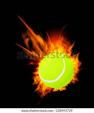 Tennis Ball on Fire. Illustration on black background - stock photo