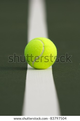 Tennis Ball on the Court Line with Shallow DoF