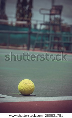 Tennis Ball on the Court.vintage color