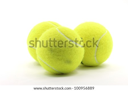 Tennis Ball Sport Equipment on White Background using as World Competition Concept - stock photo