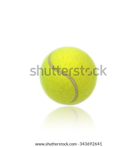 Tennis ball with reflection isolated on white background. - stock photo
