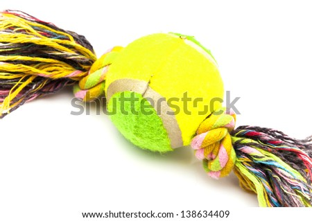tennis ball with rope on a white background - stock photo