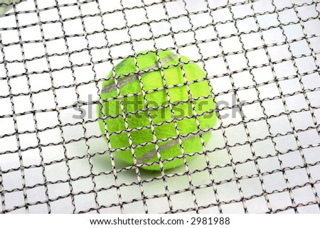 Tennis ball with tennis racket strings