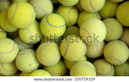 Tennis balls background texture, pile of tennis balls - stock photo