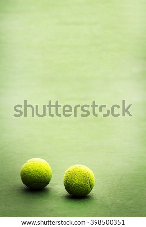 Tennis balls with copy text space - stock photo