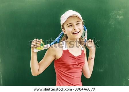 Tennis - beautiful young girl tennis player (filtered) - stock photo
