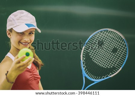 Tennis - beautiful young girl tennis player (filtered) - stock photo
