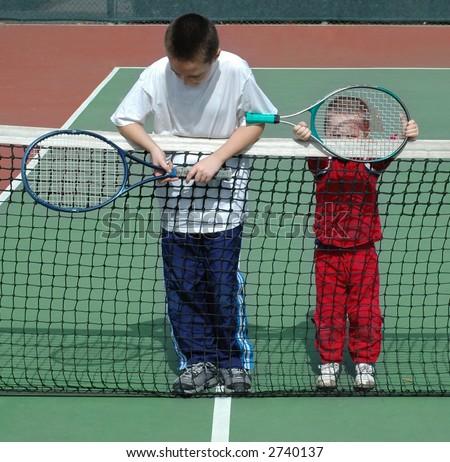 Tennis buddies - stock photo