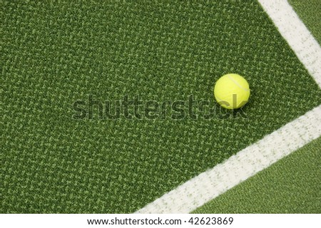 Tennis composition. Yellow ball, lines and court. - stock photo