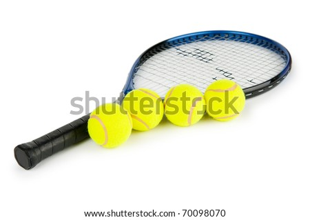 Tennis concept with the balls and racket - stock photo
