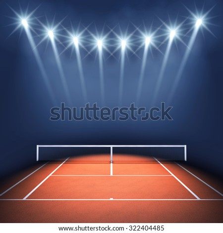 Tennis court and floodlights , Tennis tournament - stock photo
