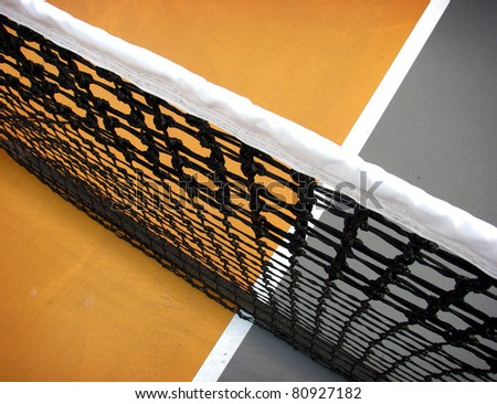 tennis court and net from interesting perspective
